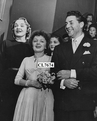 Edith Piaf with Her Husband Jacques Pills and  Marlene Dietrich on Wedding Photo