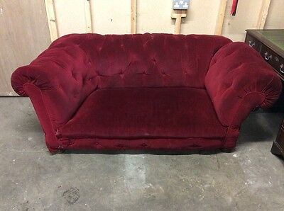 Victorian antique red velvet Chesterfield sofa drop arm rough luxe 19th century