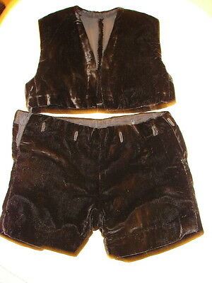 VINTAGE LITTLE BOY/TODDLER'S BLACK VELVETEEN PANTS AND VEST SET- 1920s-1930s era