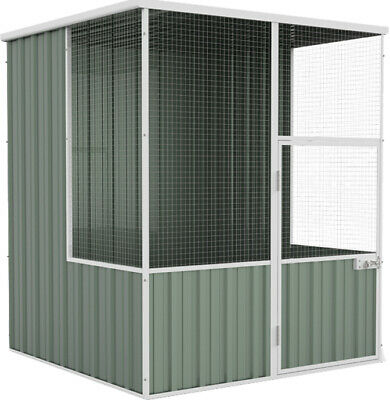 Absco Flat Roof Aviary Bird Cage Chicken Coop 1.52 x 1.48 x 1.8 in Pale Eucalypt