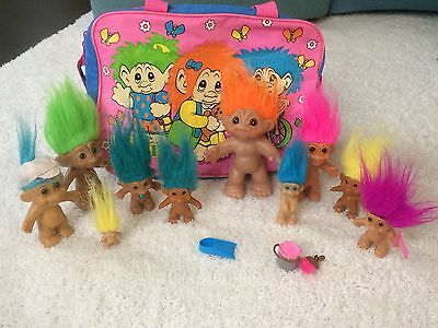 Mixed Lot of 10 Vintage DAM Ace Russ Trolls Dolls with Norfin Carry Case Bag