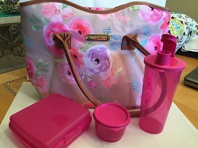 Tupperware Art Of Spring Lunch Set Insulated Bag Sandwich Cont Snack Cup Tumbler