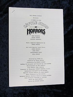 LITTLE SHOP OF HORRORS british production notes RICK MORANIS