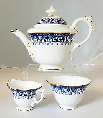 1903 Antique Royal Worcester Blue and White Tea Set Pot with Sugar & Creamer