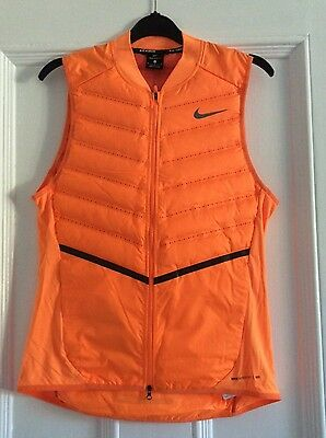 NIKE Mens Aeroloft 800 Lightweight Gilet Running Size Medium in Orange