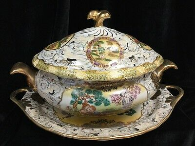 Extra Large Antique Chinese Export Rose Medallion Soup/Stew Tureen & Undertray