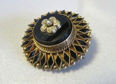 Antique Victorian Black Onyx Jet, Gold Filled & Seed Pearl Mourning Brooch Pin