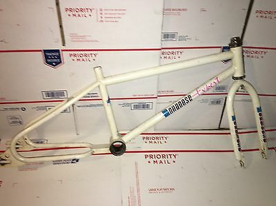 1986 mongoose Expert frameset Frame And Forks  Old School Bmx Rare White Out