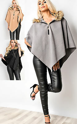 Women's Ladies Stunning Glam Casual Faux Fur Poncho