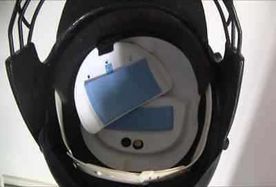 Cricket helmet insert Coldie, air conditioned, Fan unit and cooling cartridge.