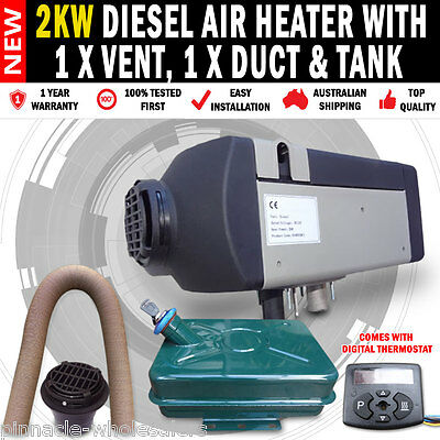 NEW 2KW Diesel Air Heater with 1 x Vent, 1 x Duct And Tank
