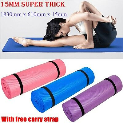 15MM Thick Yoga Mat Gym Exercise Fitness Workout Pilates Non Slip Pad Cushion