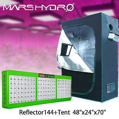 "Mars Reflector 144 LED Grow Light Indoor Plant Lamp + 48""x24""x70"" Grow Tent Room"