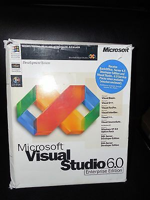 Microsoft Visual Studio 6.0 6 Enterprise BASIC FOXPRO C++ 628-00140 RETAIL BOX