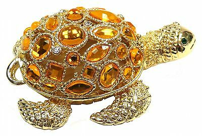 Gold Turtle Trinket Box with Colorful Beads FengShui Turtle Jewelry Box