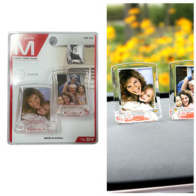 Two transparent small picture frames for vehicle mounting