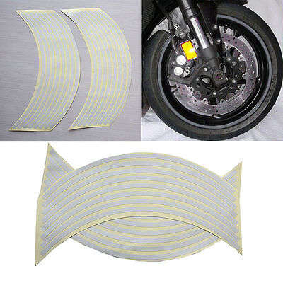 "18""  Wtite Stickers Reflective Car Motorcycle Rim Stripe Wheel Tape Decal SG"