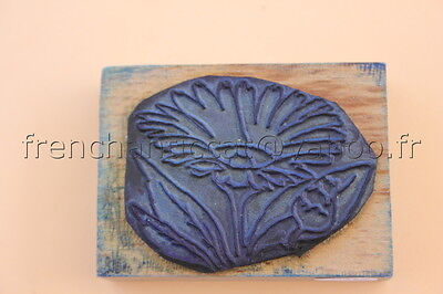 N217 French antique school rubber stamp flower 6*4 cm tampon scolaire fleur