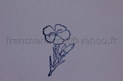N139 French antique school rubber stamp flower 6*6cm tampon scolaire oeillet