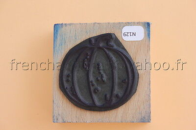 N129 French antique school rubber stamp  pumpkin 6*6 cm tampon scolaire potiron