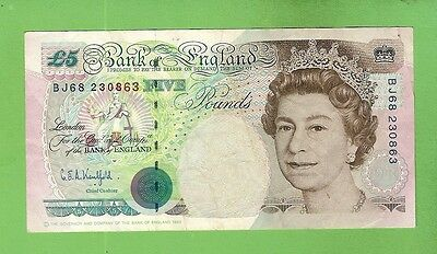 #d280. 1990  Great  Britain 5 Pound  Circulated  Paper  Banknote Bj68 230863