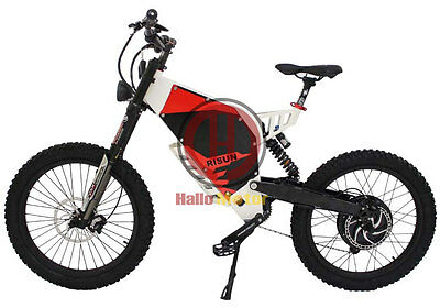 White 72V 3000W FC-1 Stealth Bomber Electric Bicycle Super Mountain EBike