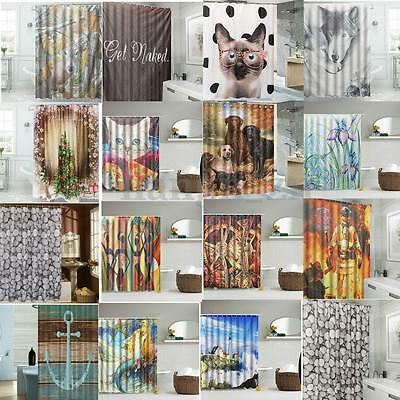 New Design Solid Polyester Bathroom Shower Curtain Waterproof With Hooks