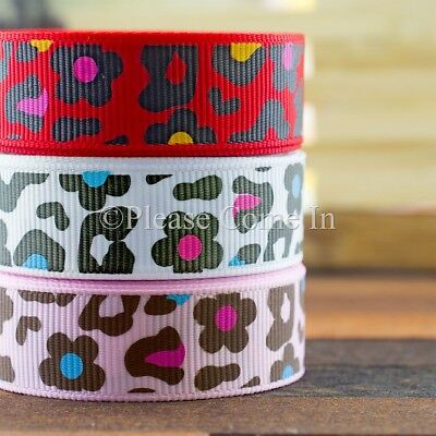 "Grosgrain Ribbon Flower Print 10mm/16mm/38mm 3/8"" 5/8"" 1-1/2"""