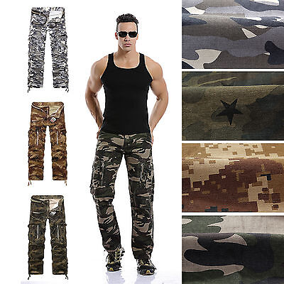 """Mens Camo Trousers Army Military Pants Cargo Combat Airsoft Work Casual 32""""-38"""""""