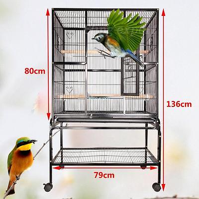 79x48x136Cm Stand-Alone Aviary Bird Cage For Large Midium & Small Bird on Wheels