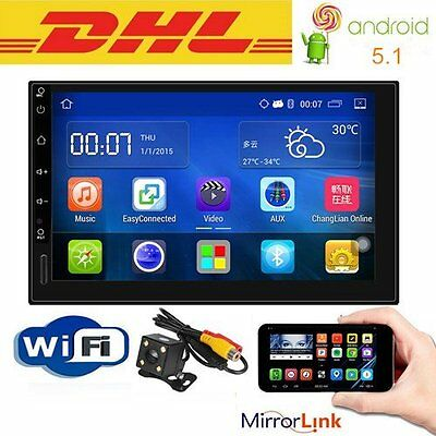 """Quad Core Android 5.1 3G WIFI 7"""" Double 2DIN Car Radio Stereo MP5 Player GPS Nav"""