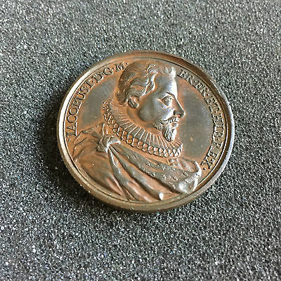 1731 James I 41mm Bronze Commemorative Medal By Jean Dassier No 104a in Series