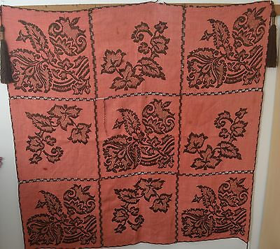 Antique Primitive Arts & Crafts Embroidered Linen Table Cover  Ss183