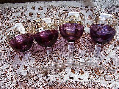 Set Of 4 Red/gold/clear Stemmed Sherry/ Liqueur/ Aperitif/ Glasses Vgc.