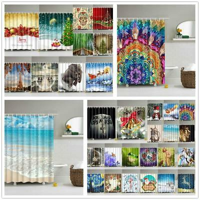 Bathroom Shower Curtain Waterproof Liner w/12 Hooks Bath Drape Set Decor 71x71""