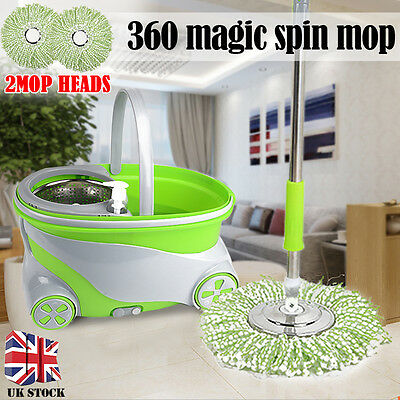 360° Magic Spinning Rotating Floor Mop &Stainless Steel Dry Basket + 2 Mop Heads