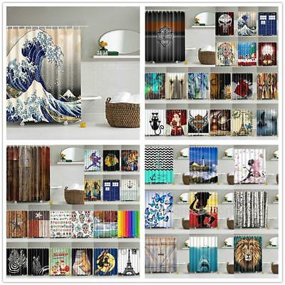 3D Print Shower Curtain 180x180cm Bathroom Waterproof Drapes Decor + 12 HOOKS