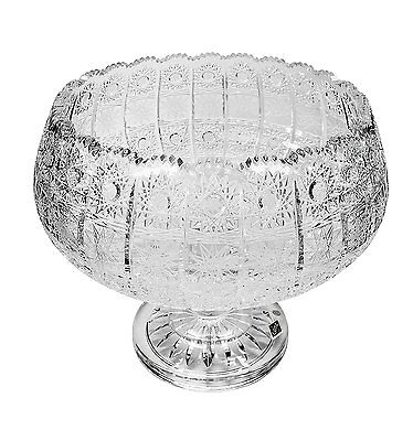 "Bohemia Crystal Footed Bowl, 10"" Dia Round Serving Fruit Bowl on a Stem"