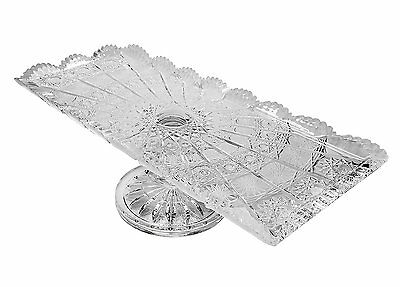 """Bohemia Crystal Footed Plate, 16""""L Rectangular Serving Fruit Appetizers Platter"""