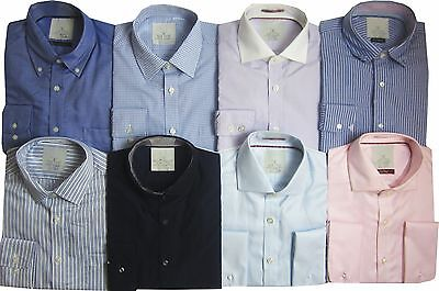 "Ex MS Mens Shirts Office Work Formal New Collar Long Sleeve 15"" B"