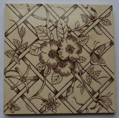 OLD BROWN FLORAL TILE - SIZE 6''x 6'' - GOOD CONDITION.