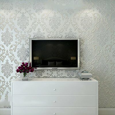 10M Rolls Victorian Texture Embossed Damask Cream Luxury Glitter Wallpaper White