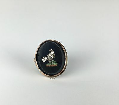 Wonderful Victorian 14K Rose Gold Micro Mosaic Pin of a Dove