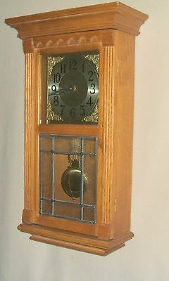 D&A Oak Wall Clock with Westminster Chimes and Leaded Glass In Front Door