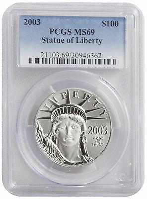 2003 - 1oz $100 Platinum American Eagle MS69 PCGS Blue Label