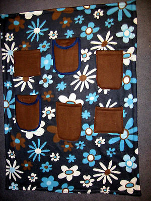 Navy Blue Flowers Handmade Wheelchair Cover Blanket  6 Pockets 32 X 38