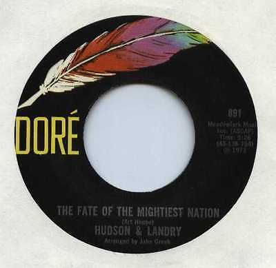 """HUDSON AND LANDRY USA 7"""" Single FATE OF THE MIGHTIEST NATION"""