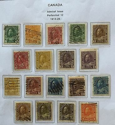 Canada 1912/25 Admiral Issue Perf 12 Set Used 18 Stamps Rare Spl