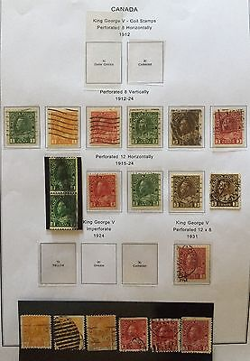 CANADA 1912/25 ADMIRAL ISSUE PERF & COLOR VARIETY OF 1,2,3 c. 19V. USED RARE