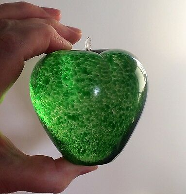 Vintage Wedgwood Glass Speckled Green Apple Paperweight VGC